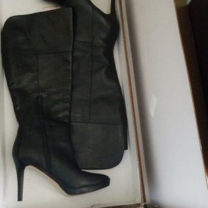 Audrey Brooke Wide Calf Black Leather Boots